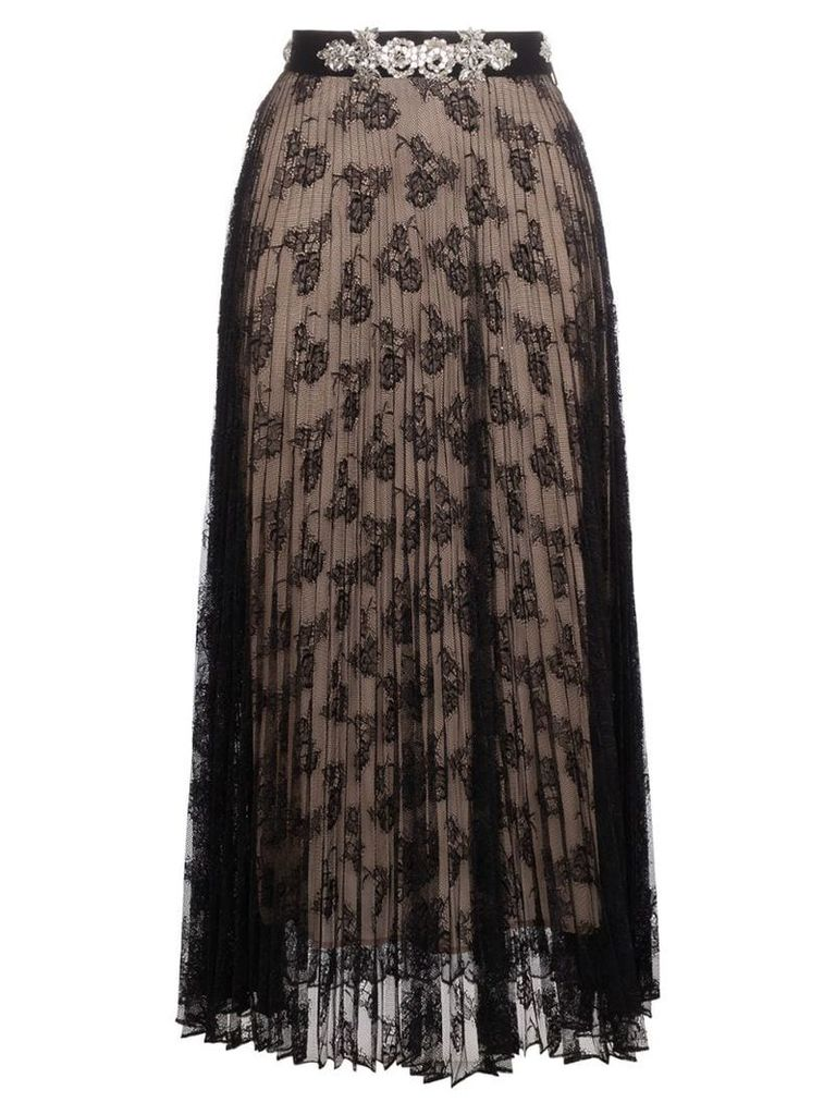 Christopher Kane pleated lace skirt with crystal - Black