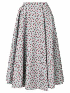 Rochas jacquard rose patterned skirt - Blue