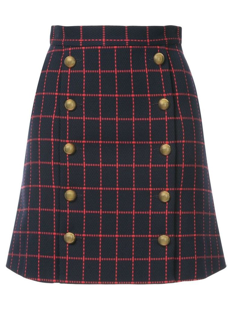 Macgraw high-waisted checked skirt - Blue