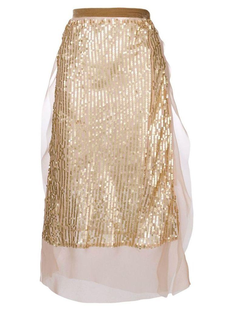 Sacai sequin embellished skirt - Metallic