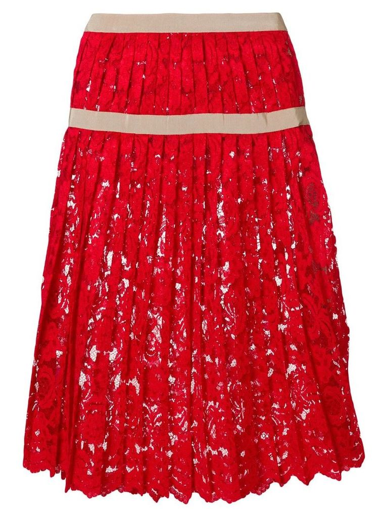 Miahatami pleated lace skirt - Red