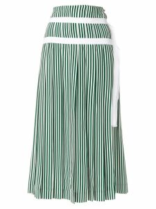 Joseph striped pleated skirt with double belt detail - Green