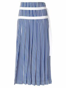 Joseph striped pleated skirt with double belt detail - Blue