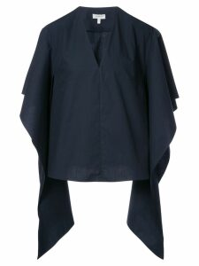 Delpozo draped-sleeve fitted blouse - Blue