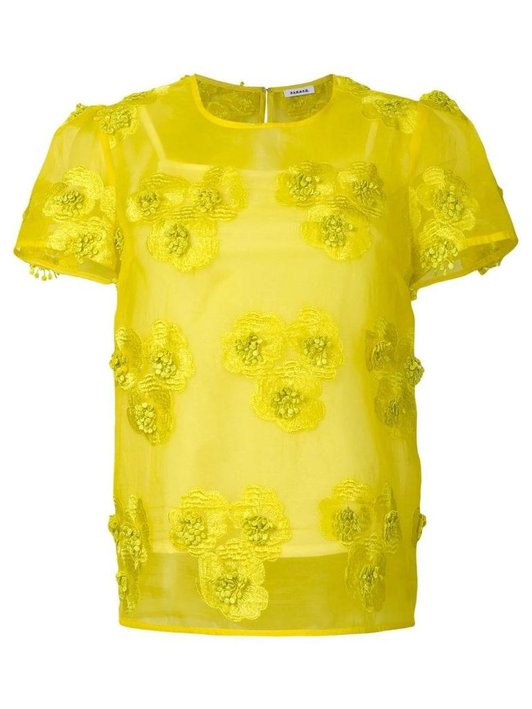 P.A.R.O.S.H. floral embroidered sheer blouse - Yellow
