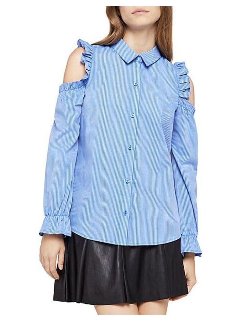 Cold-Shoulder Ruffled Pinstripe Shirt