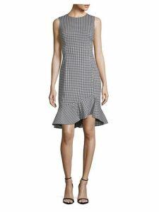 Gingham Ruffle-Hem Sheath Dress