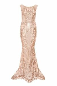 Quiz Rose Gold Sequin Mesh High Neck Fishtail Maxi Dress