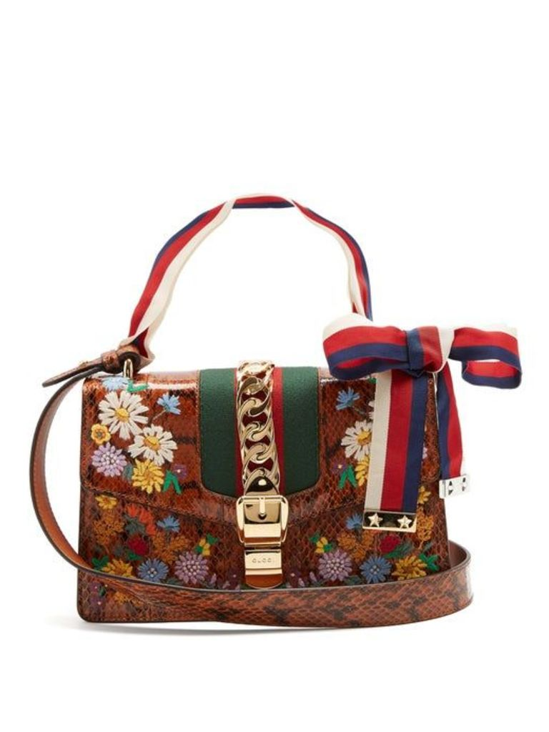 Gucci - Floral Embroidered Watersnake Shoulder Bag - Womens - Brown Multi