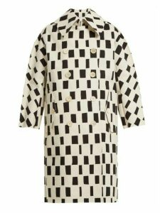 Junya Watanabe - Rectangle Print Point Collar Cotton Coat - Womens - White Black