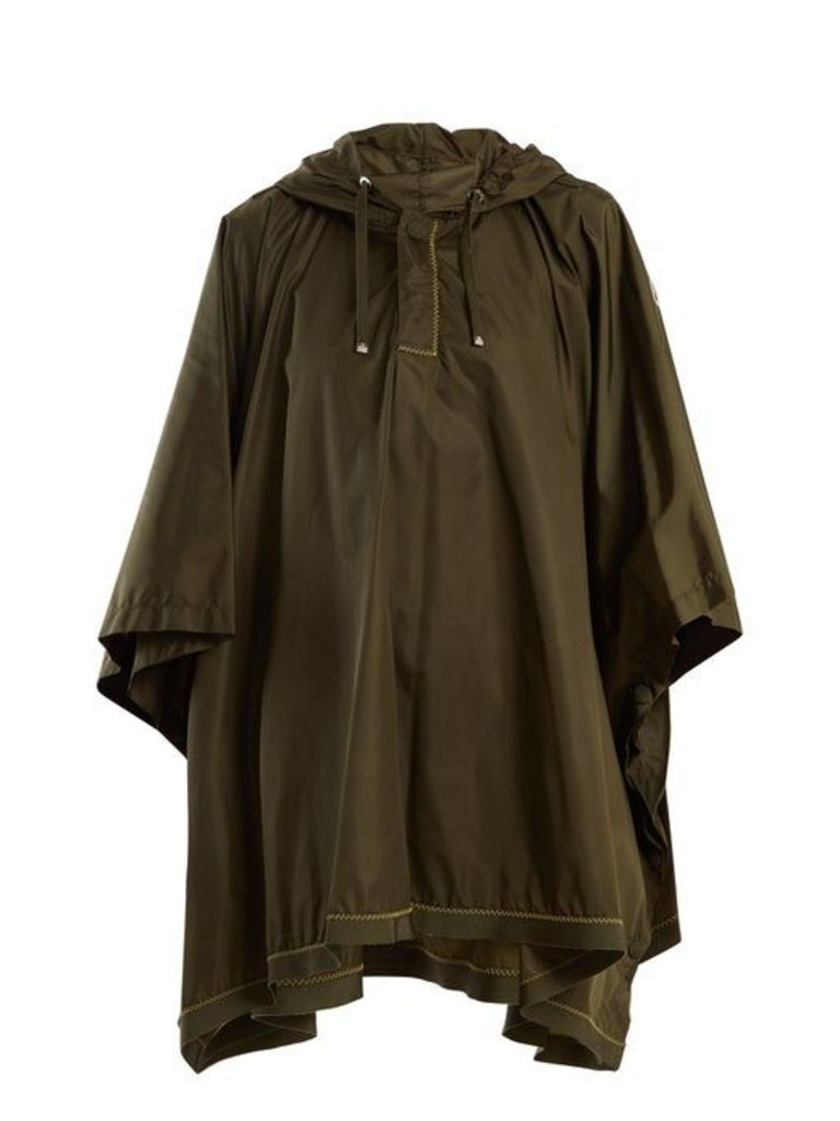 Moncler - Hooded Contrast Stitch Cape - Womens - Khaki