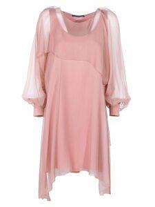 Alberta Ferretti Chiffon Mini Cape Dress