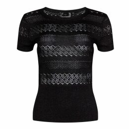 NY CHARISMA - Black Textured Knitted Lace short sleeves Pullover