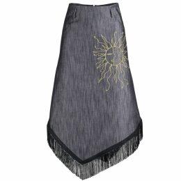 NY CHARISMA - Grey Ribbed Cardigan with Fringe Layers Sleeves