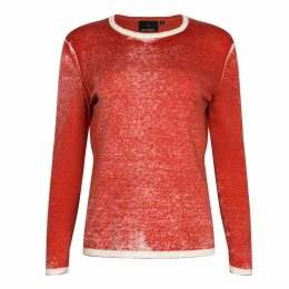 NY CHARISMA - Red Cotton Hand Print Pullover