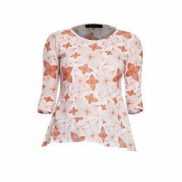 Philosofée by Glaucia Stanganelli - Burnt Orange Floral Print Back Pleat Modal T-Shirt