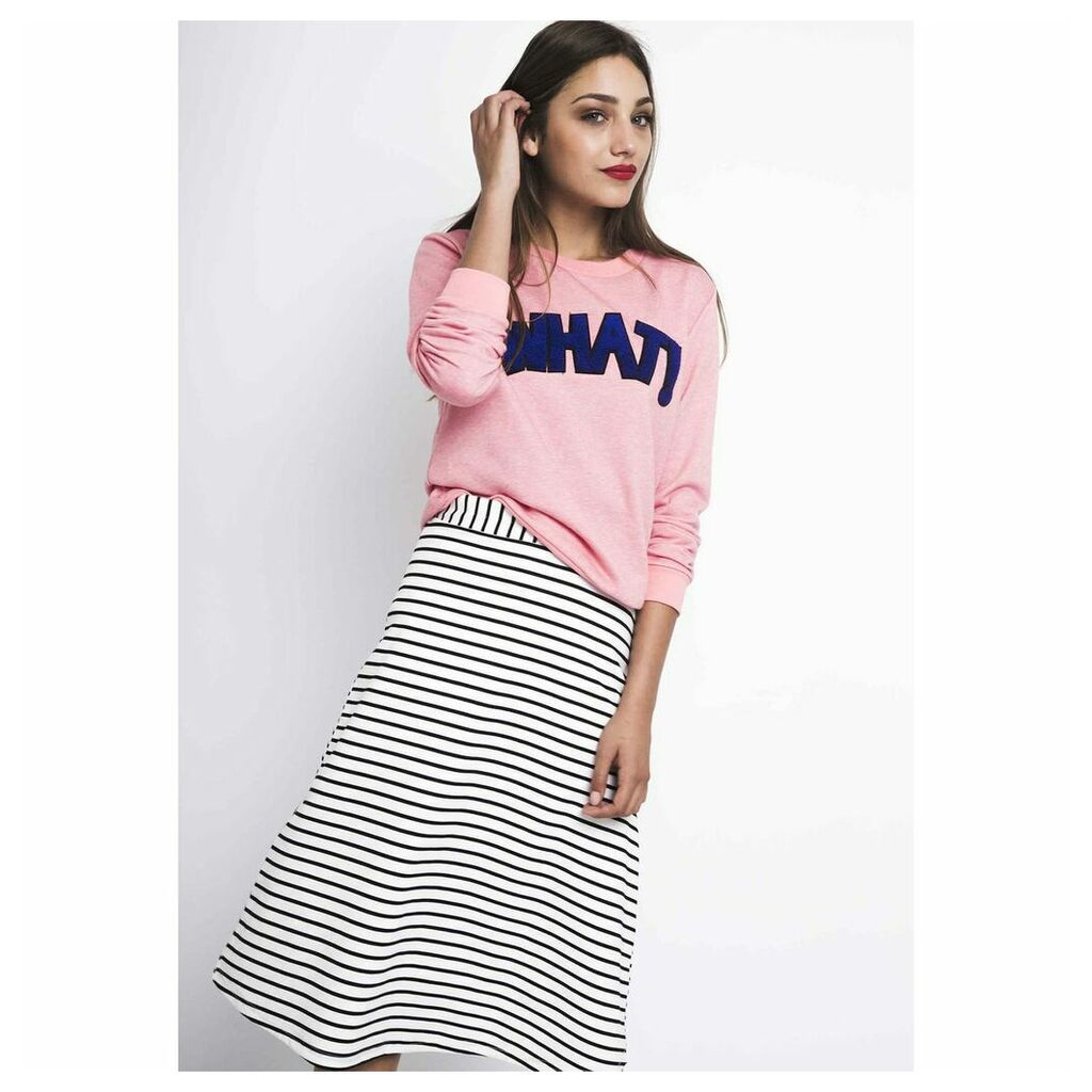 Striped 3/4 Length Midi Pencil Skirt