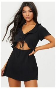 Black Frill Cut Out Tea Dress, Black