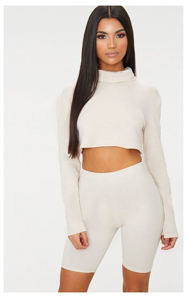Cream Roll Neck Long Sleeve Sweater, White