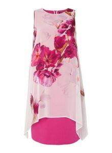 Womens *Roman Originals Orchid Floral Print Shift Dress- Purple, Purple