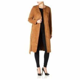 Anastasia  Faux Suede Belted Coat  women's Coat in Brown