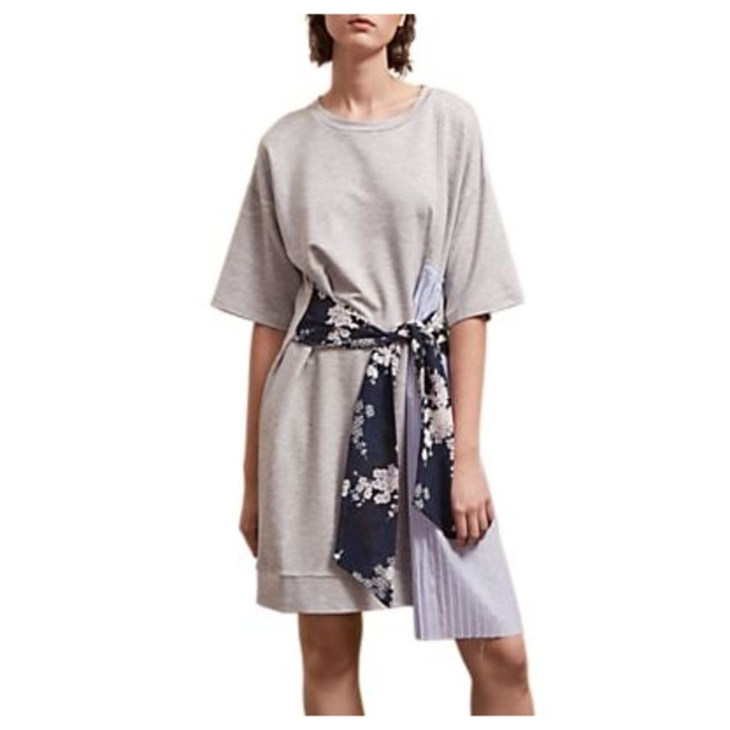 French Connection Ono Tie Jersey Dress, Light Grey Marl/Multi