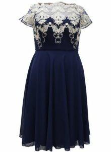 **Chi Chi London Navy Blue Tea Dress, Navy