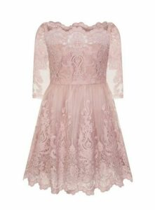 **Chi Chi London Mink Baroque Style Skater Dress, Pink