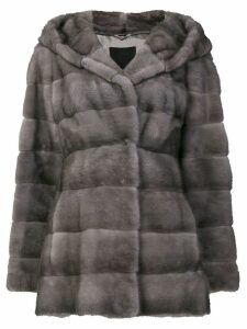 Liska Valenzia hooded fur coat - Grey