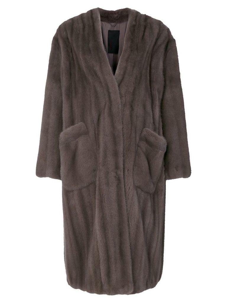 Liska Viro fur coat - Grey