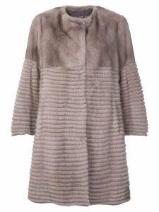 Liska mink fur buttoned coat - Neutrals