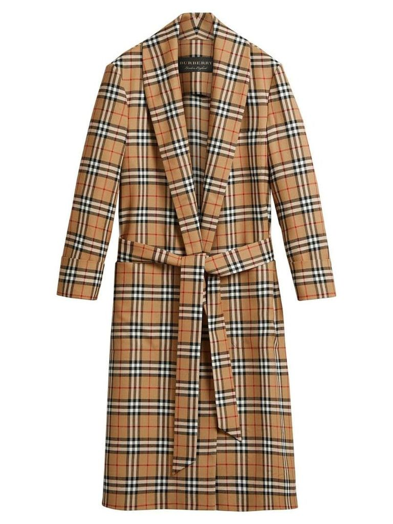 Burberry Reissued vintage check dressing gown coat - Yellow