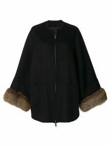 Liska fur cuffed zipped coat - Black
