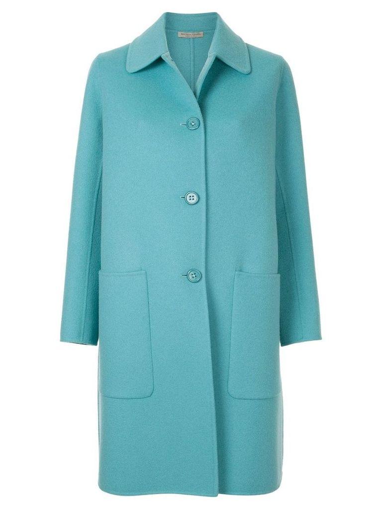 Bottega Veneta single breasted coat - Blue