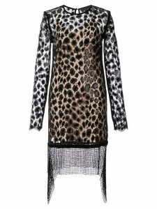 Alexander Wang Leopard Lace Long Sleeve dress - Black