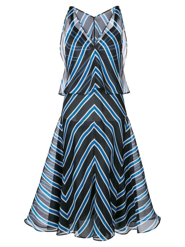 Fendi striped flared dress - Blue