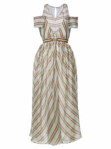 Fendi striped flared midi dress - Green