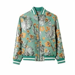 Hibiscus Printed Bomber Jacket