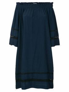 P.A.R.O.S.H. off-the-shoulder lace-insert midi dress - Blue