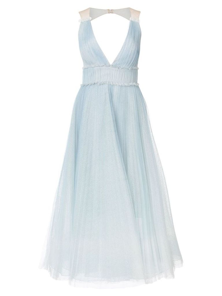 Marchesa Notte pleated ombré gown - Blue