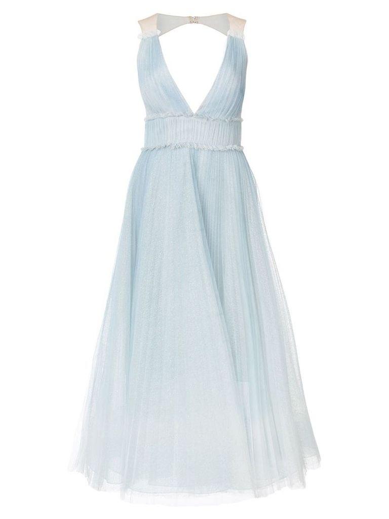Marchesa Notte pleated ombré gown - Blue
