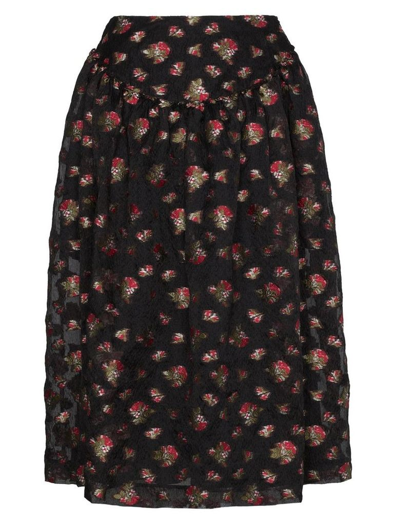 Simone Rocha floral embroidered full midi skirt - Black