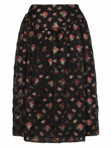 Simone Rocha floral embroidered full midi skirt - Black