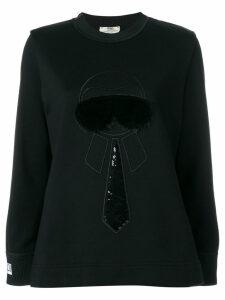 Fendi Karlito-embroidered sweatshirt - Black