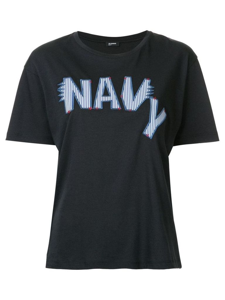 Jil Sander Navy embroidered logo T-shirt - Blue