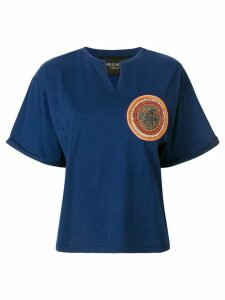 Mr & Mrs Italy neck slit patched T-shirt - Blue