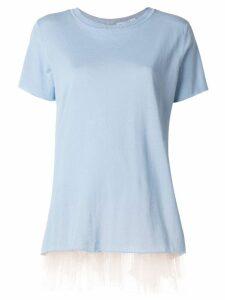 Blugirl tulle hem T-shirt - Blue