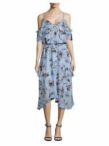 Cold-Shoulder Ruffle Floral Dress