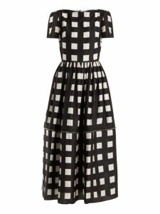 Christopher Kane - Zip Hem Square Print Silk Dress - Womens - Black White