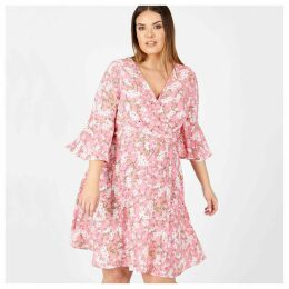 Floral Print Wrapover Dress with Ruffled Detail
